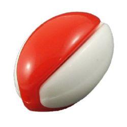 Χάντρα οβάλ 14x20 mm τρύπα 2 mm λευκό και κόκκινο -10 σετ