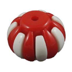 Модулно мънисто буре 19x15 мм дупка 2 мм бяло и червено -10 комплекта