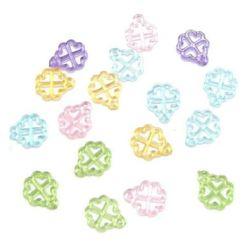Κρεμαστό απομίμηση κρύσταλλο τριφύλλι 16x13 mm διαφανές MIX - 50 γραμμάρια