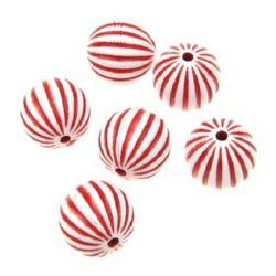 Margele de bila solida 16 mm gaura 2 mm în relief alb cu roșu - 50 grame ~ 22 buc