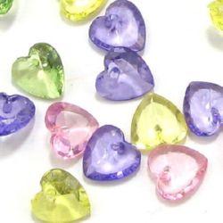 Pandantiv inimă de cristal 10x10x5 mm gaură 1 mm MIX - 50 grame ~ 240 bucăți