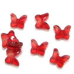 Χάντρα απομίμηση κρύσταλλο πεταλούδα 15x18 mm κόκκινο - 50 γραμμάρια