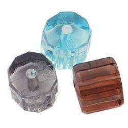 Мънисто кристал цилиндър 13x14x12 мм дупка 2.5 мм МИКС -50 грама ~ 27 броя