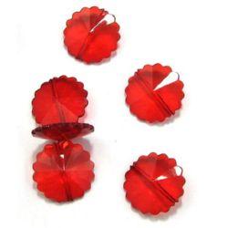 Margele  floare de cristal 24x8 mm roșu - 50 grame