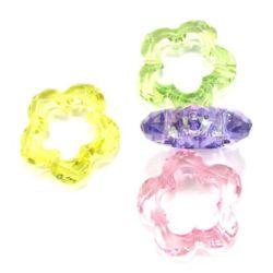Mărgele  flori de cristal 39 mm fațetate MIX - 50 grame