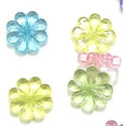 Margele  floare de cristal 20x5 mm gaură 2 mm MIX - 50 grame -30 bucăți