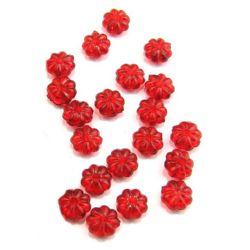 Χάντρα απομίμηση κρύσταλλο λουλούδι 7x4mm Τρύπα 1mm Κόκκινο -50 γραμμάρια ~ 550 τεμάχια