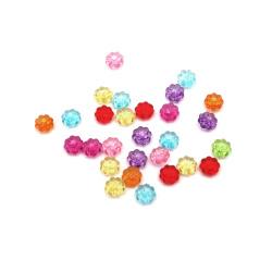 Floare de cristal  mărgele 4x7 mm gaură 1 mm MIX - 50 grame