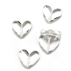 Χάντρα απομίμηση κρύσταλλο καρδιά 33x27 mm διαφανές - 50 γραμμάρια