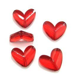 Χάντρα απομίμηση κρύσταλλο καρδιά 33x27 mm κόκκινο - 50 γραμμάρια