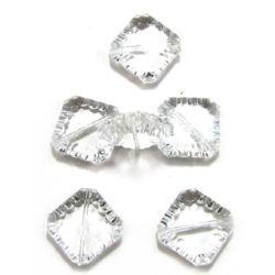 Χάντρα απομίμηση κρύσταλλο τετράγωνο 24x7 mm διαφανές - 50 γραμμάρια