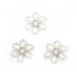 Мънисто кристал цвете 27x24x5 мм дупка 2 мм прозрачно -50 грама ~ 60 броя