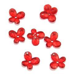 Χάντρα απομίμηση κρύσταλλο πεταλούδα 14x12 mm κόκκινο - 50 γραμμάρια