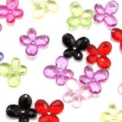 Χάντρα απομίμηση κρύσταλλο πεταλούδα 14x12x2 mm τρύπα 1,5 mm MIX - 50 γραμμάρια ~ 200 τεμάχια