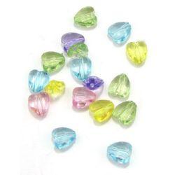 Χάντρα απομίμηση κρύσταλλο καρδιά 10x8.5x5mm Τρύπα 1mm ΜΙΞ - 50 γραμμάρια ~ 220 τεμάχια