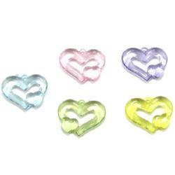 Χάντρα απομίμηση κρύσταλλο καρδιά 34x26 mm MIX -50 γραμμάρια