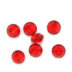 Χάντρα απομίμηση κρύσταλλο στρόγγυλο πλακέ 20 mm κόκκινο - 50 γραμμάρια