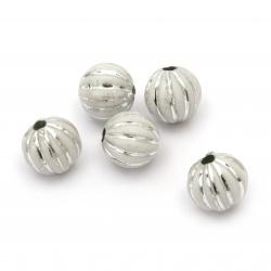Mărgele de argint cu bile portocalii 12 mm gaură 2,5 mm culoare alb -50 g ~ 60 bucăți