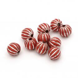 Мънисто сребърна нишка топче портокал 12 мм дупка 2.5 мм цвят червен -50 гр ~60 броя