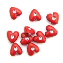 Мънисто имитация камъче сърце 8x4 мм дупка 1 мм цвят червен -20 грама ~120 броя