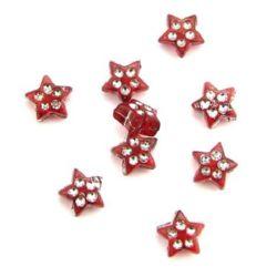 Звезда имит. камъчета 8 мм прозрачна червена -50 грама
