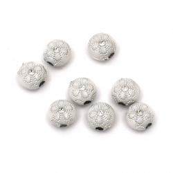 Мънисто сребърна нишка цвете 10x6 мм дупка 2 мм бяло -50 грама ~141 броя