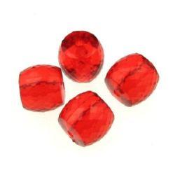 Мънисто кристал цилиндър 11x12 мм дупка 2 мм фасетирано червено - 50 грама ~40 броя