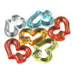 Мънисто кристал сърце 18x24.5x5 мм дупка 1.5 мм МИКС -50 грама ~ 43 броя