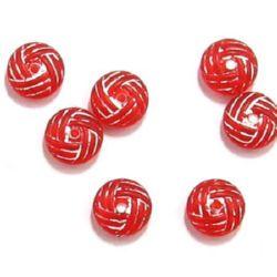 Margele saiba 10x4 mm roșu cu alb - 50 grame
