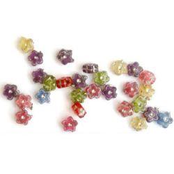 Мънисто имитация камъчета цвете 7x4 мм дупка 1 мм микс -50 грама ~400 броя