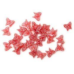 Margele de fluture 15x13 mm roșu cu alb -50 grame