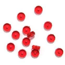Monedă din cristal  mărgele 9x4 mm gaură 1,5 mm roșu -50 g ~ 167 bucăți