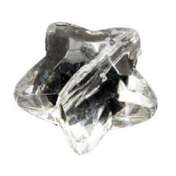 Мънисто кристал звезда 12.5x19 мм дупка 2.5 мм прозрачно -50 грама ~25 броя