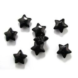 Χάντρα απομίμηση κρύσταλλο αστέρι 27x27.5x13mm τρύπα 2mm μαύρο -50 γραμμάρια ~ 10 τεμάχια