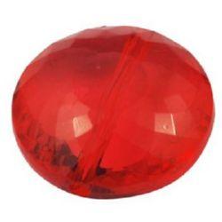 Χάντρα απομίμηση κρύσταλλο στρόγγυλο 20x9mm τρύπα 2mm κόκκινο -50 γραμμάρια ~ 23 τεμάχια