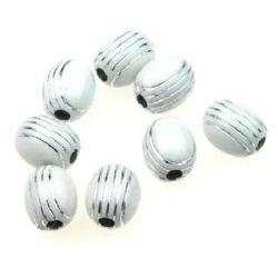 Opaque Acrylic Oval Beads with Silver Line, White 11x10 mm hole 2.5 mm white - 50 grams ~ 85 pieces