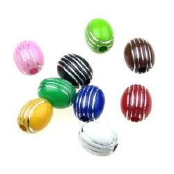 Opaque Acrylic Oval Beads with Silver Line, 11x10 mm hole 2.5 mm mix - 50 grams ~ 85 pieces