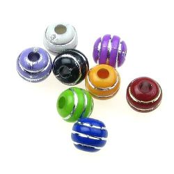 Opaque Acrylic Round Beads with Silver Line, 7 mm hole 2 mm mix - 50 grams ~ 240 pieces