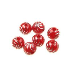 Opaque Acrylic Round Beads with Silver Line, 10 mm hole 2 mm red - 50 grams ~ 85 pieces