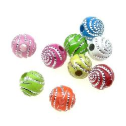 Opaque Acrylic Round Beads with Silver Line, Multicolor 8mm, hole 2mm - 50 grams ~ 180 pieces