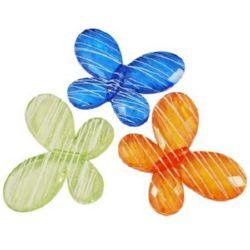 Margele de fluture de cristal 35x49x8 mm gaură 2 mm vopsită MIX -50 grame - 8 bucăți