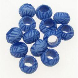 Мънисто прано топче релеф 7x5 мм дупка 4 мм цвят син -50 грама ~520 броя