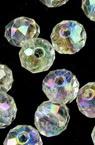 Мънисто кристал шайба 6х5 мм дупка 1 мм прозрачно ДЪГА многостен -20 грама ±250 броя
