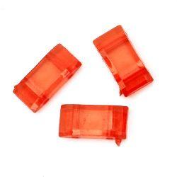 Мънисто кристал разделител 9x18x5 мм с 2 дупки x 2 мм червен - 50 грама ~ 70 броя