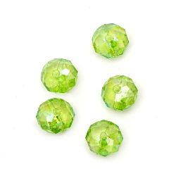 Мънисто кристал абакус 8x6 мм дупка 1 мм зелено дъга -50 грама ~ 240 броя