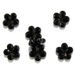 Χάντρα απομίμηση κρύσταλλο λουλούδι 24x18x3mm τρύπα 1mm μαύρο -50 γραμμάρια ~ 25 τεμάχια