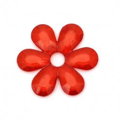 Мънисто кристал цвете 55x7 мм дупка 10 мм червено -48 грама -6 броя