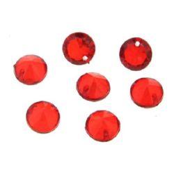 Κρεμαστό απομίμηση κρύσταλλο στρόγγυλο 10x7 mm τρύπα 15 mm κόκκινο - 50 γραμμάρια