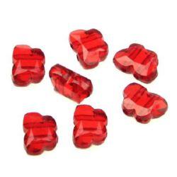 Margele fluture de cristal 10x14x6 mm două găuri 2 mm roșu - 50 grame