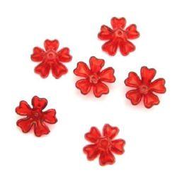 Floare de cristal  margele 16x6 mm gaură 1,5 mm roșu - 50 grame